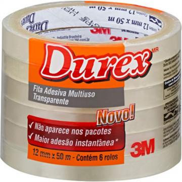 Fita Durex 12x50m Transparente 3M 6 Rolos