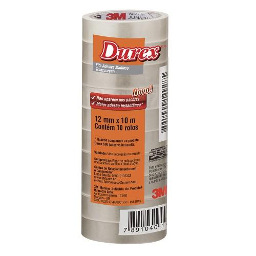 Fita Durex 12x10m Transparente 3M 10 Rolos - 3M - 12x10