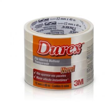 Fita Durex 12x40m Transparente 3M 6 Rolos
