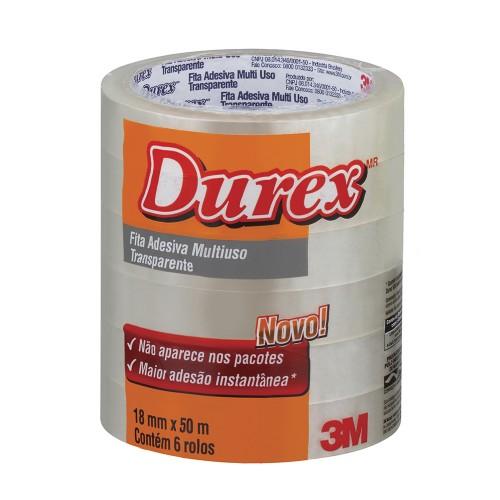 Fita Durex 18x50m Transparente 3M 6 Rolos - 3M - 18x50