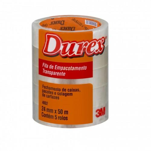 Fita Durex 24x50m Transparente 3M 5 Rolos - 3M - 24x50