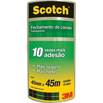 Fita PVC 45x45m Transparente Scotch 3M 4 Rolos