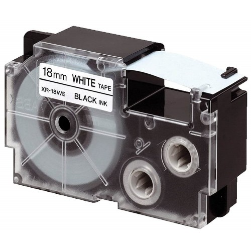 Fita Rotuladora Casio XR-18WE1 18mm Branca Preto KL-120