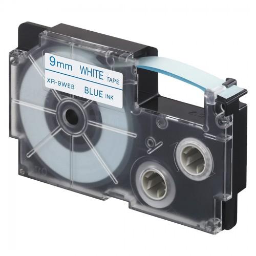 Fita Rotuladora Casio XR-9WEB1 9mm Branca Azul KL-60 KL -120