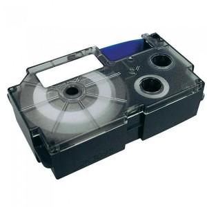 Fita Rotuladora Casio 6mm Transparente Preta KL-60 KL-120