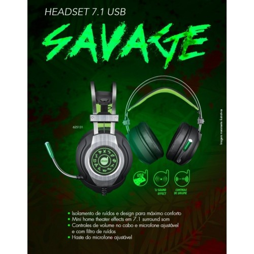 Fone Headset Gamer Savage 7.1 USB 2.0 Dazz - MaxPrint - Headset 625131