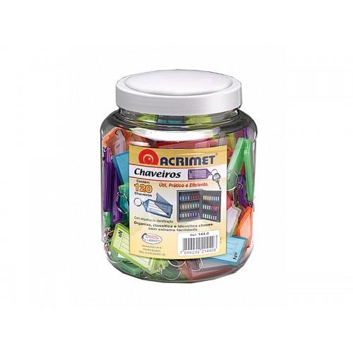 Organizador De Chaves Pote Com 120 Chaveiros Coloridos Acrimet - Acrimet - 144.0