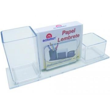 Porta Lápis/Clips/Lembrete Com Papel Cristal Acrimet