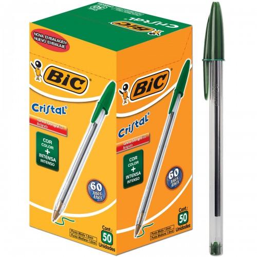 Caneta Esferografica 1.0 Cristal Verde Bic 50 Unidades - BIC - Bic Cristal 1.0