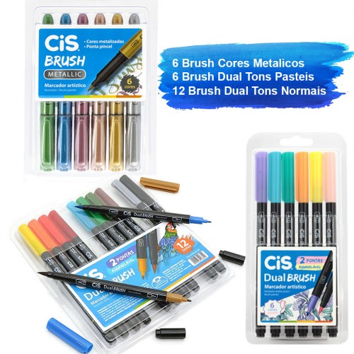 Kit Caneta Brush Pen 24 Unidades Pastel Metalico Normal Cis