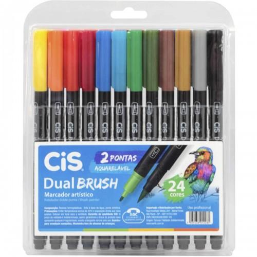 Caneta Brush Pen 24 Cores Duas Pontas Aquarelável Cis Pen - CIS - Brush Pen 24 Cores Duas Pontas Aquarelável