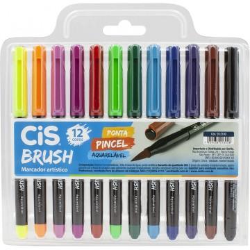 Caneta Brush Marcador Artístico 12 cores Ponta Pincel Aquarelável Cis