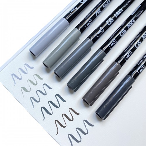 Caneta Brush Pen 6 Cores Tons de Cinza Aquarelável Cis