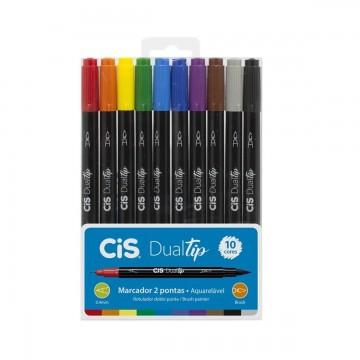 Caneta Brush dualtip 10 cores Cis
