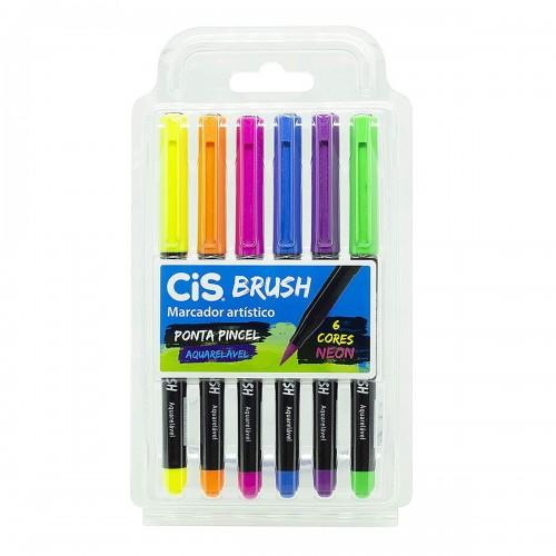 Caneta Brush Pen 6 Cores Neon Aquarelável Cis