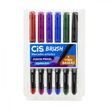 Caneta Brush Pen Pincel 6 Cores Básicas Aquarelável Cis