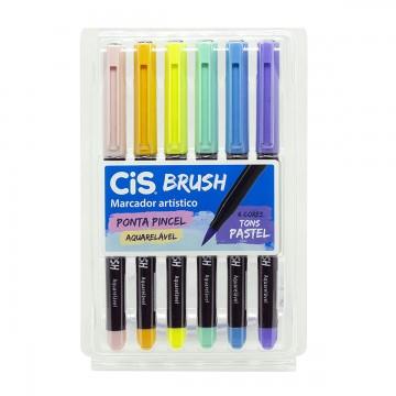 Caneta Brush Pen Pincel 6 Cores Pastel Aquarelável Cis