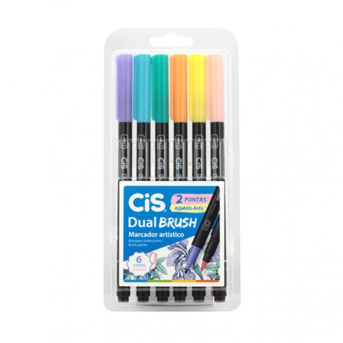 Caneta Brush Pincel Dual Aquarelável Cis Pen 6 cores Pastel - CIS - Brush Pincel Dual  6 cores Pastel