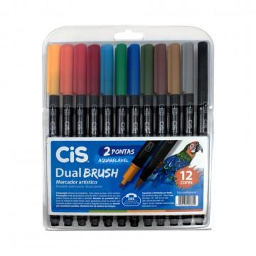 Caneta Brush Pen 12 Cores Duas Pontas Aquarelável Cis Pen