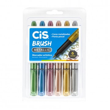 Caneta Brush Pen Metallic 6 Cores Metalicas Cis