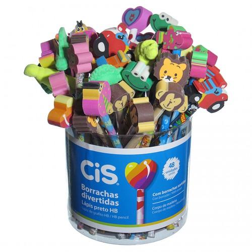 Lápis Decorado Borrachas Divertidas Com 48 Unidades Cis - Cis - Borrachas Divertidas
