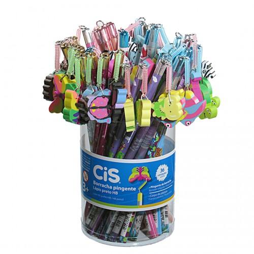 Lápis Decorado Com Borrachas Pingente 36 Unidades Cis - Cis - Borrachas Pingentes