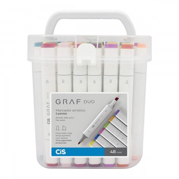 Marcador Artístico 2 Pontas CiS Graf Duo 48 Cores