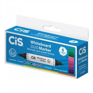 Pincel Marcador Quadro Branco Cis White Board Duo 06 Cores