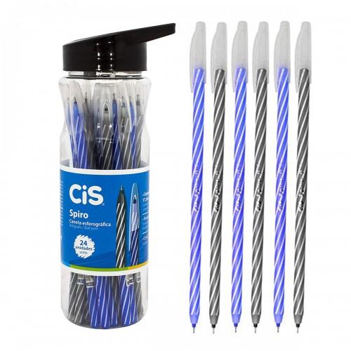 Caneta Spiro Cis 0,7 mm Esferográfica Pote Com 24 Unidades - CIS - Spiro  0,7 mm Esferográfica