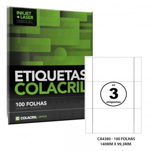 Etiqueta Adesiva A4 CA4380 140 x 99,3 mm 100 Folhas Colacril