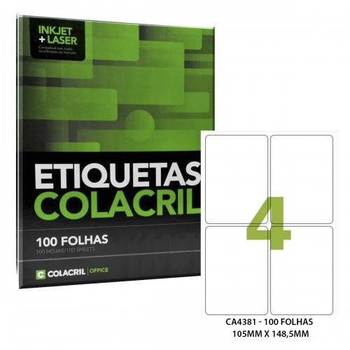 Etiqueta Adesiva A4 CA4381 105 x 149 mm 100 Folhas Colacril