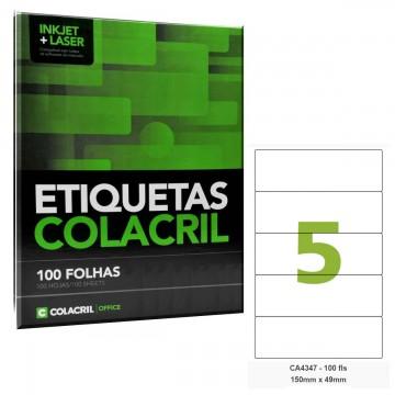 Etiqueta Adesiva A4 CA4347 150 x 49 mm 100 Folhas Colacril