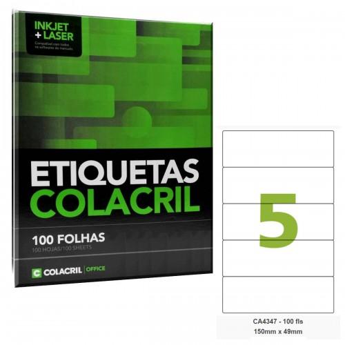 Etiqueta Adesiva A4 CA4347 150 x 49 mm 100 Folhas Colacril - ColaCril - CA4347