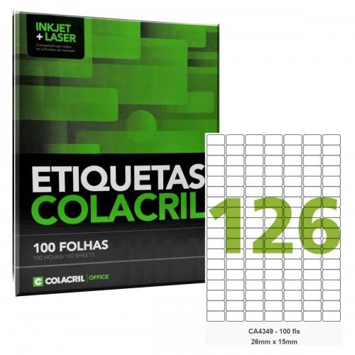 Etiqueta Adesiva A4 CA4349 26 x 15 mm 100 Folhas Colacril - ColaCril - CA4349