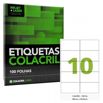 Etiqueta Adesiva A4 CA4350 99 x 55,8 mm 100 Folhas Colacril