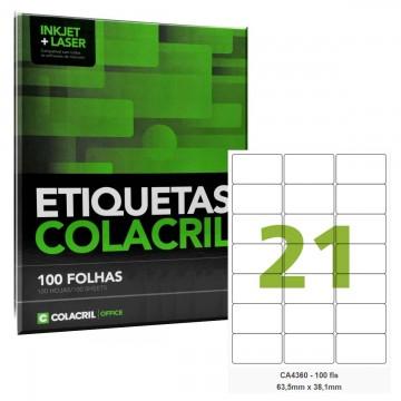 Etiqueta Adesiva A4 CA4360 63,5x38,1mm Colacril 100 Folhas