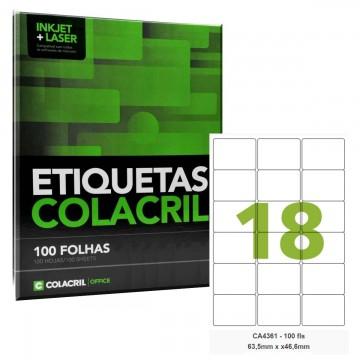 Etiqueta Adesiva A4 CA4361 63,5 x 46,6 mm 100 Folhas Colacril