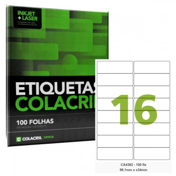 Etiqueta Adesiva A4 CA4362 99,1 x 34 mm 100 Folhas Colacril