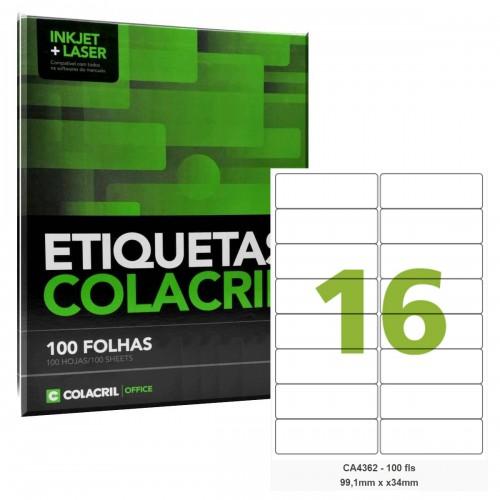 Etiqueta Adesiva A4 CA4362 99,1 x 34 mm 100 Folhas Colacril - ColaCril - CA4362