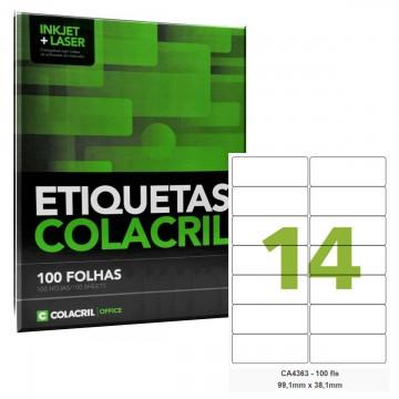 Etiqueta Adesiva A4 CA4363 99,1 x 38,1 mm 100 Folhas Colacril