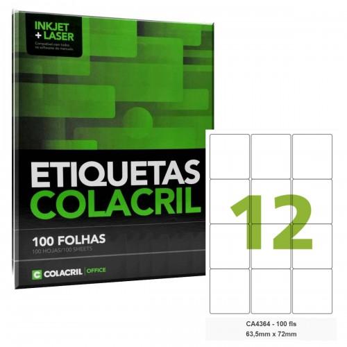 Etiqueta Adesiva A4 CA4364 63,5 x 72 mm 100 Folhas Colacril - ColaCril - CA4364