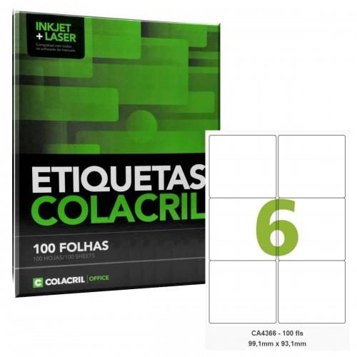 Etiqueta Adesiva A4 CA4366 99,1 x 93,1 mm 100 Folhas Colacril - ColaCril - CA4366