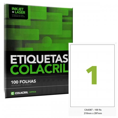 Etiqueta Adesiva A4 CA4367 210 mm x 297mm Colacril 100 Folhas - Colacril - CA4367