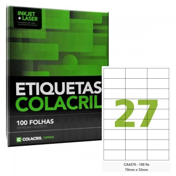 Etiqueta Adesiva A4 CA4370 70 x 33 mm 100 Folhas Colacril