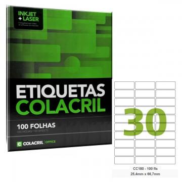 Etiqueta Adesiva Carta CC180  25,4 x 66,7 mm 100 Folhas Colacril