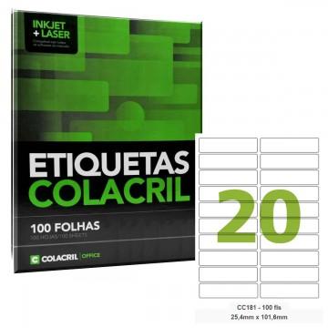 Etiqueta Adesiva Carta CC181 25,4 x 101,6 mm 100 Folhas Colacril