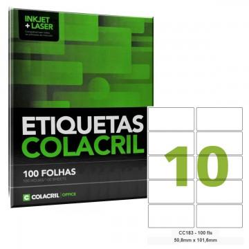 Etiqueta Adesiva Carta CC183 50,8 x 101,6 mm 100 Folhas Colacril