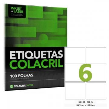 Etiqueta Adesiva Carta CC184 84,7 x 101,6 mm 100 Folhas Colacril