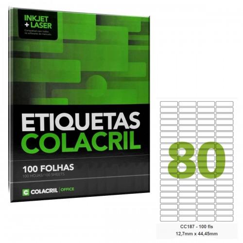 Etiqueta Adesiva Carta CC187 12,7 x 44,45 mm 100 Folhas Colacril - ColaCril - CC187
