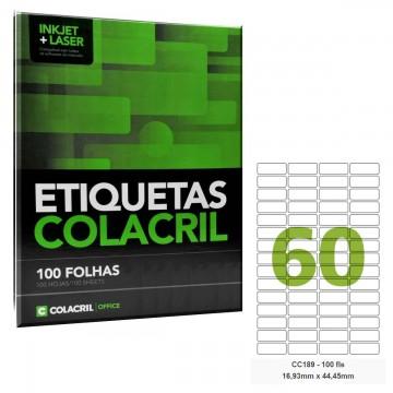 Etiqueta Adesiva Carta CC189 16,93 x 44,45 mm 100 Folhas Colacril